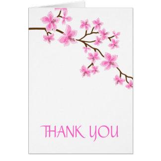 La flor de cerezo le agradece cardar tarjeta pequeña