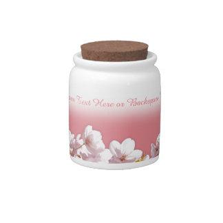 La flor de cerezo personaliza el tarro rosado del platos para caramelos