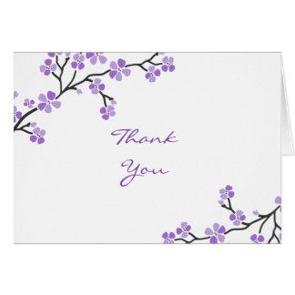 La flor de cerezo púrpura le agradece las tarjetas