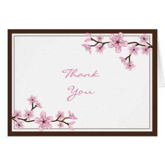 La flor de cerezo rosada le agradece las tarjetas