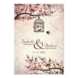 """La flor de cerezo y el casarse de los pájaros del invitación 3.5"""" x 5"""""""