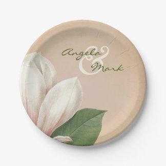 La flor de la magnolia meridional que casa la plato de papel de 7 pulgadas