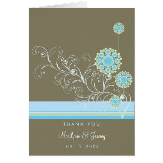 La flor de la nieve remolina azul le agradece tarjetón