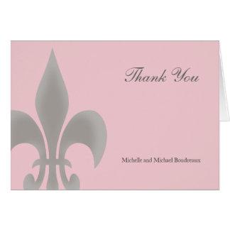 La flor de lis elegante simple le agradece tarjeta de felicitación