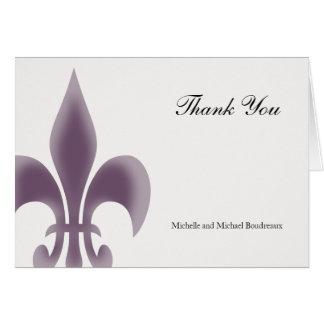 La flor de lis elegante simple le agradece tarjeta