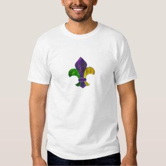 La flor de lis Mardi Gra añade el texto Camisas