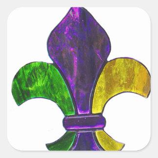 La flor de lis Mardi Gra añade el texto Pegatina Cuadrada