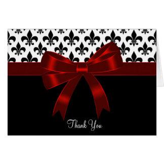 La flor de lis negra roja le agradece las tarjetas