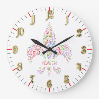 La flor de lis redacta símbolo reloj redondo grande