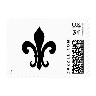 La flor de lis sella el icono blanco y negro sello postal
