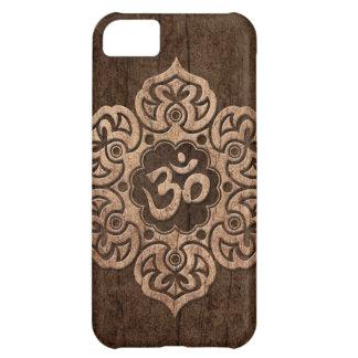 La flor de Lotus OM con el grano de madera efectúa Funda Para iPhone 5C