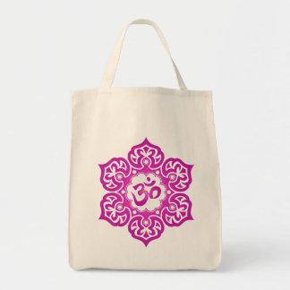 La flor de Lotus OM diseña - la magenta Bolsa Tela Para La Compra