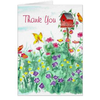 La flor de mariposa roja del Birdhouse le agradece Tarjeta Pequeña