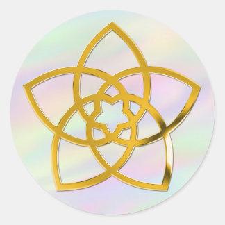 La flor de Venus del símbolo/el ORO el | coloreó Etiquetas Redondas