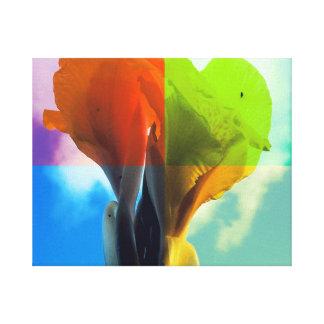 La flor del arte pop en diverso color quads mirada impresiones en lona estiradas