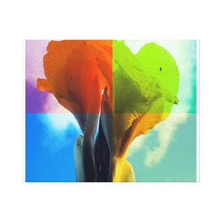La flor del arte pop en diverso color quads mirada lona envuelta para galerias