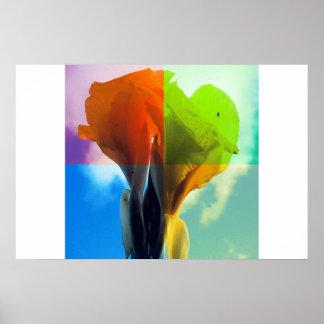 La flor del arte pop en diverso color quads mirada póster