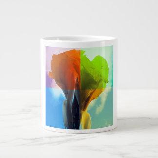 La flor del arte pop en diverso color quads mirada taza grande