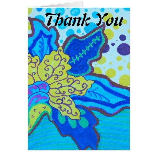 La flor del flor de la ondulación le agradece tarjeta pequeña