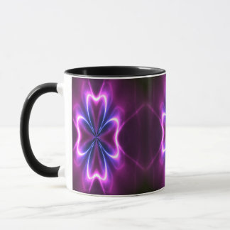 La flor del fractal un resplandor va taza