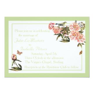 """La flor elegante y la mariposa verdes y rosadas invitación 5"""" x 7"""""""