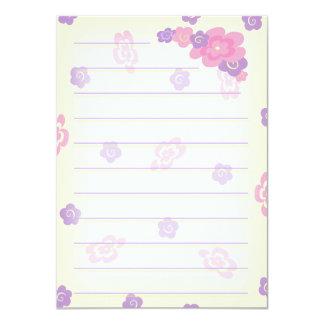 """La flor femenina Doodles los efectos de escritorio Invitación 4.5"""" X 6.25"""""""