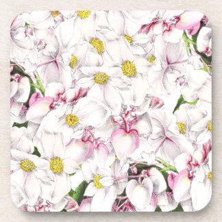 La flor floral blanca botánica florece práctico de posavasos para bebidas