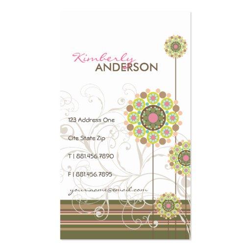 La flor floral caprichosa puntea rayas de moda de tarjetas de visita