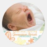 La flor garabatea multi • Invitación del bebé Etiquetas