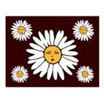 La flor hace frente a blanco tarjetas postales