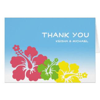 La flor hawaiana tropical del hibisco le agradece  felicitaciones