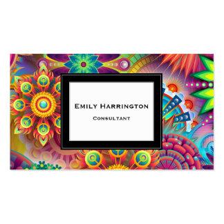 La flor multicolora del art déco forma el modelo tarjetas de visita