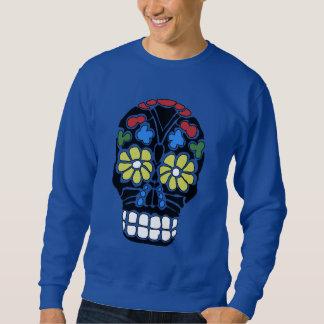La flor negra punky gótica observa el cráneo sudadera con capucha