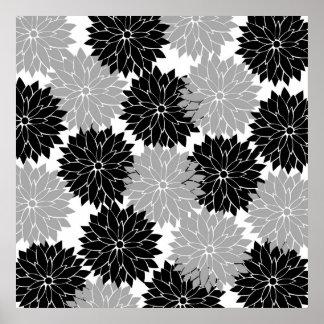La flor negra y gris fresca florece impresión flor impresiones