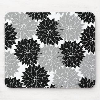 La flor negra y gris fresca florece impresión flor alfombrillas de ratones