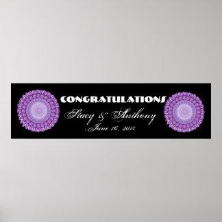 La flor púrpura rueda la bandera del boda o del co impresiones