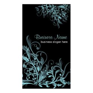 La flor retra elegante de la turquesa remolina 2 tarjetas de visita