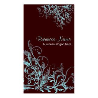 La flor retra elegante de la turquesa remolina 3 tarjetas de visita