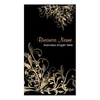 La flor retra elegante del oro remolina 2 tarjetas de visita