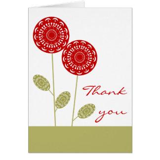 La flor roja de Kiri le agradece Notecard Tarjeta Pequeña