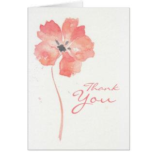 La flor roja de la amapola le agradece cardar tarjeta pequeña
