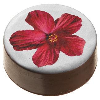 La flor roja del hibisco sumergió las galletas de