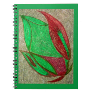la flor roja en la floración libreta espiral