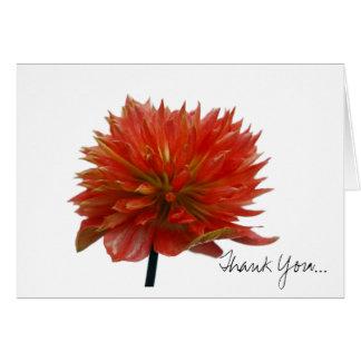 La flor roja le agradece tarjeta pequeña