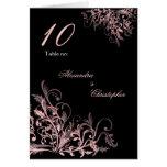 La flor rosada elegante remolina número de la tabl felicitaciones