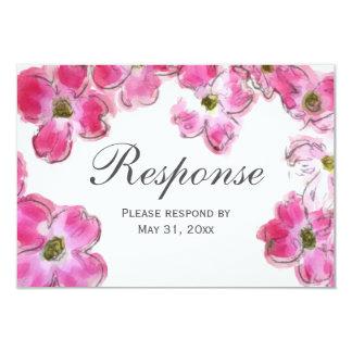 """La flor rosada florece casando la tarjeta de la invitación 3.5"""" x 5"""""""
