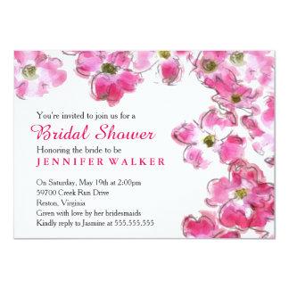 La flor rosada florece fiesta de ducha nupcial del invitación 11,4 x 15,8 cm