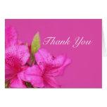 La flor rosada preciosa le agradece tarjeta de