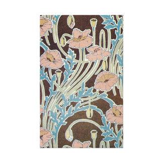 La flor rosada remolina con las hojas azules impresión de lienzo