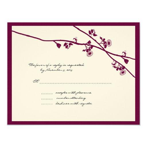 La flor salvaje del ciruelo ramifica casando RSVP Comunicados Personalizados